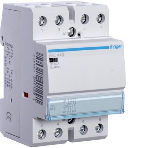 Контактор модульный Hager ESC440,  4NO, 230V